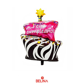 Globo Metalico Pastel Feliz Cumpleaños 95.5x58.5cm 1pcs