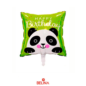 Globo Metálico Oso Panda Happy Birthday