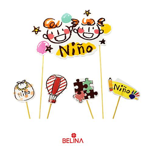 Topper Niño Globo/Babero/Rompecabezas 9pcs