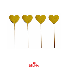 Topper de corazon amarillo 37cm 6pcs