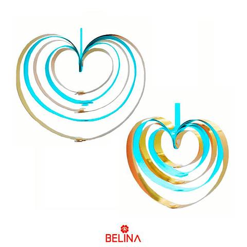Guirnalda corazones metalicos azul 4pcs