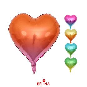 Globo Metálico Corazón Colores Degrades 45cm 1pc