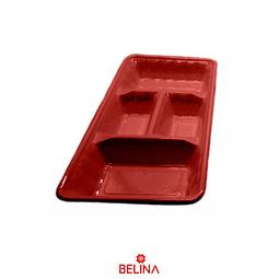 """Bandeja rectangular roja 2pcs 35"""" 18cm"""