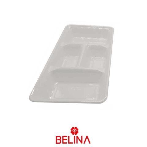 "Bandeja rectangular blanca 2pcs 35"" 18cm"