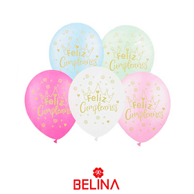 Globo latex feliz cumpleaños con brillo (colores surtidos)