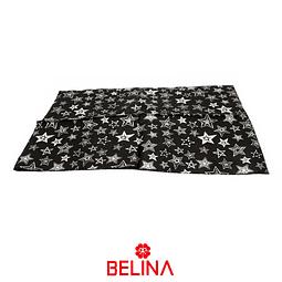 Papel de regalo negro/estrellas plata 4pcs 50x70cm