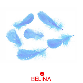 Plumas decorativas celeste 50pcs