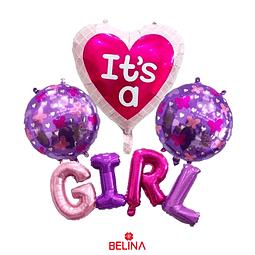 Set de globos its a girl 7pcs