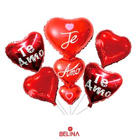 Set de globos corazones rojos te amo 5pcs