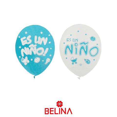 """Globo Blanco/Celeste Es Un Nino 12"""""""
