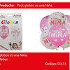"""Globos Blanco/Rosa Es Una Nina 12"""""""