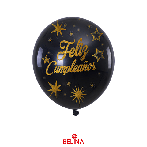 "Globo de latex negro/oro feliz cumpleaños 6pcs 12""-30cm"