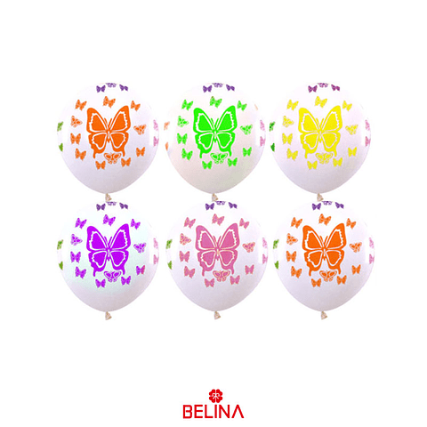 Globo latex blanco mariposa