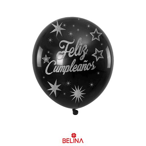 """Globo de latex negro/plata feliz cumpleaños 6pcs 12""""-30cm"""