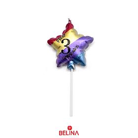 Vela estrella multicolor #3 11,5 cm