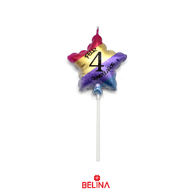 Vela estrella multicolor #4 11,5 cm