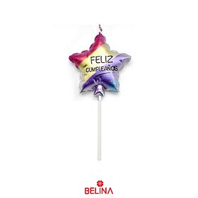 Vela feliz cumpleaños estrella multicolor 11,5 cm
