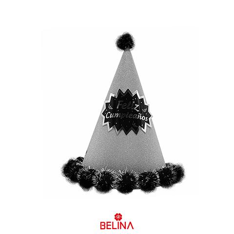 Gorro Plateado/Negro Feliz Cumpleaños