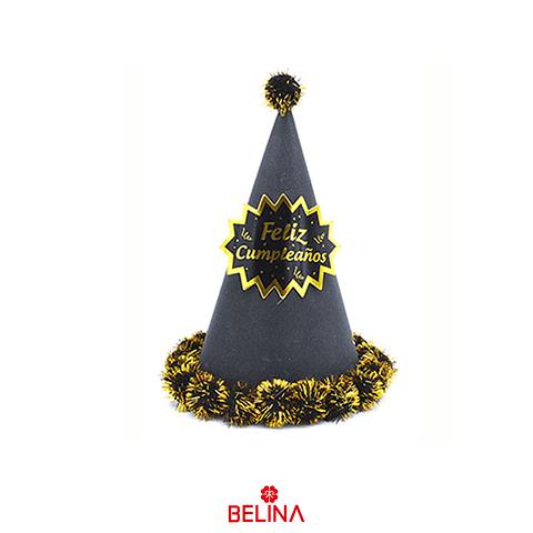 Gorro Feliz Cumpleaños Negro Con Dorado