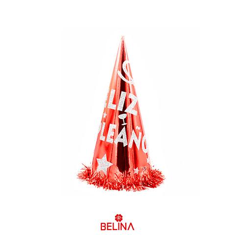 Gorro Feliz Cumpleaños Rojo/Plata