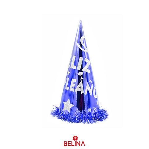 Gorro Feliz Cumpleaños Azul/Plata