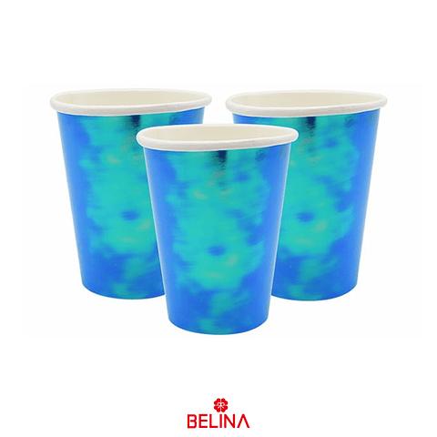Vasos tornasol azul 6un