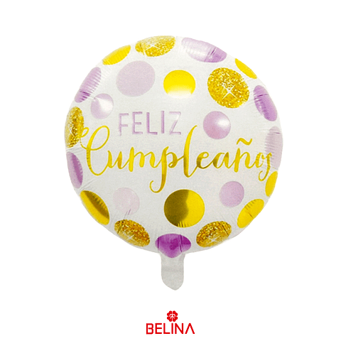 """Globo metalico feliz cumpleanos rosa/oro 18"""" 45x45cm"""