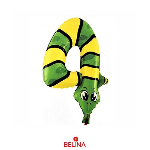 Globo numero 4 serpiente 39.5x47cm