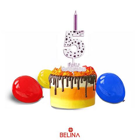 Vela Grande Feliz Cumpleaños #5 Blanco Y Morado