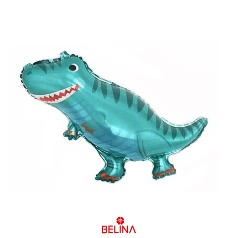Globo metalico dinosaurio turquesa 39x27cm