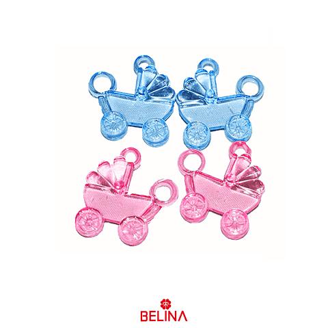 Dijes de coches azul y rosa