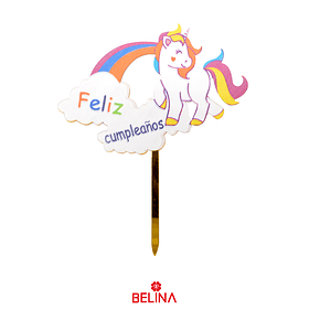 Topper Acrílico Unicornio Arcoíris Feliz Cumpleaños  13,5x10,5 Cm