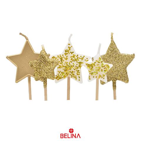Vela estrella dorada/blanco