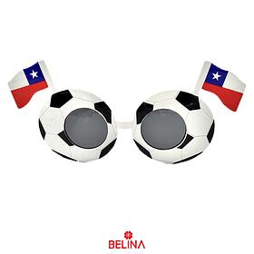 Lentes Fútbol Con Bandera Chilena 11x20 Cm