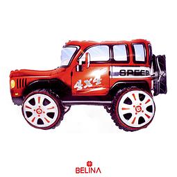 Globo Metalico 3d Automovil 4x4 Rojo 35x65cm
