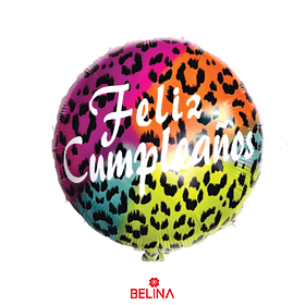 Globo Metalico Feliz Cumpleaños Animal Print