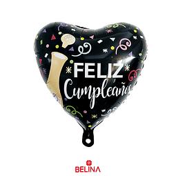 Globo metalizado corazon feliz cumpleaños 45 x 45cm