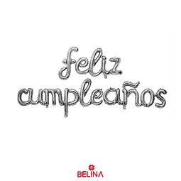"Globo feliz cumpleaños plateado 16"" 1set"
