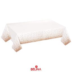 Mantel Plastico Blanco Con Puntos Oro Rosa 137cmx274cm