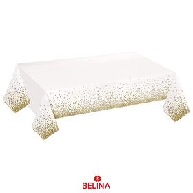 Mantel Plastico Blanco Con Puntos Oro 137cmx274cm