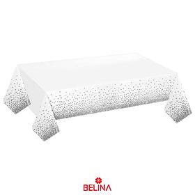 Mantel Plastico Blanco Con Puntos Plata 137cmx274cm