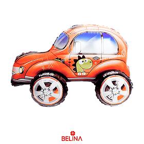 Globo Metalizado 3d Auto Escarabajo Anaranjado 57x38cm