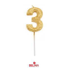 Vela Número 3 Purpurina Color Oro
