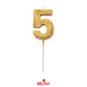 Vela Número 5 Purpurina Color Oro