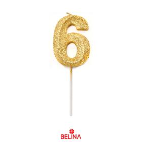 Vela Número 6 Purpurina Color Oro
