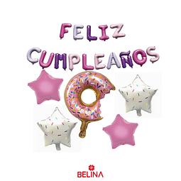 Globo Feliz Cumpleaños Con Dona Y Estrellas 20pcs