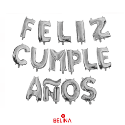 Globo feliz cumpleaños plata 16