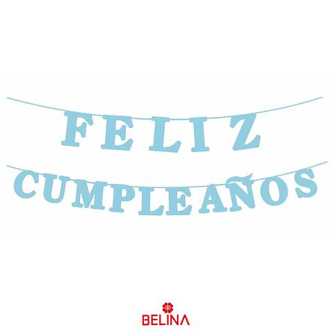 Guirnalda Feliz Cumpleaños Celeste 15pcs 3m