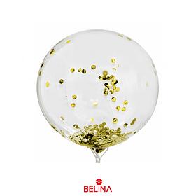 Globo Burbuja Confeti Color Dorado 45cm