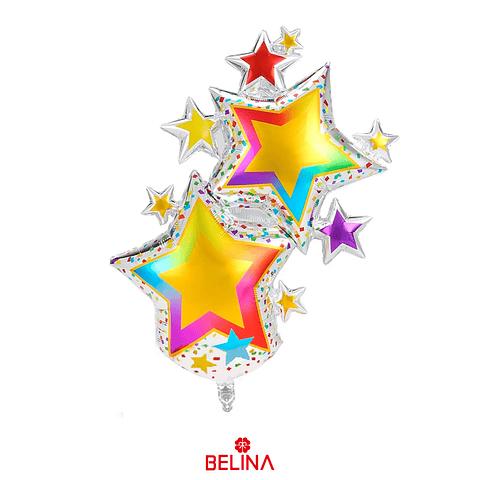 Globo Metalizado Estrellas De Colores 62x102cm